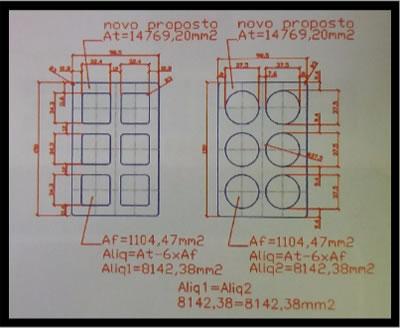 Figura 1 - Projeto das boquilhas para as amostras de blocos cerâmicos, exibindo áreas líquidas iguais, além de espessuras de septos e paredes internas