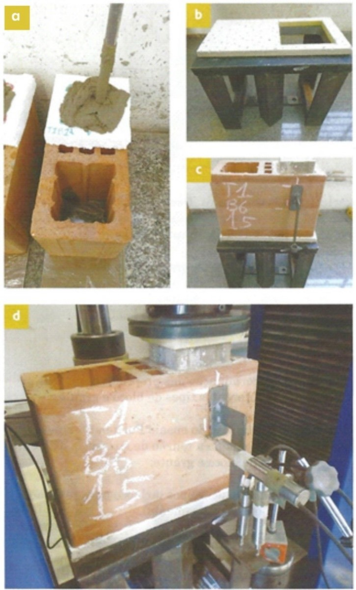 Figura 2 - Ensaio Push-out (Empurramento) / a) Adensamento do graute / b) Base com chapa de aço vazada / c) Corpo de prova montado / d) Ensaio