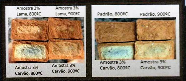 Figura 4 - Fotos comparativas do aspecto da seção reta de corpos de prova queimados a temperaturas diferentes e sua comparação com o Padrão